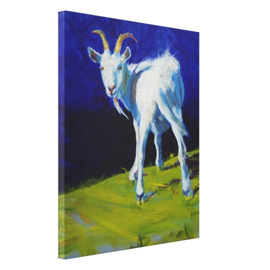 White Goat Painting Canvas Print