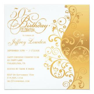 """White & Gold 50th Birthday Party Invitation 5.25"""" Square Invitation Card"""