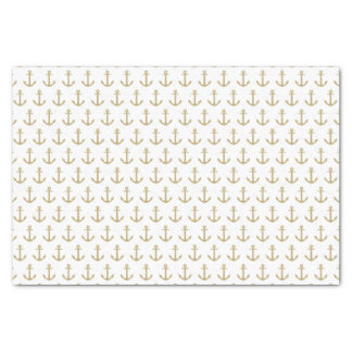 White & Gold Anchors Away   Tissue Paper