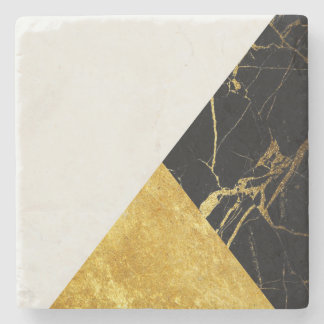 White Gold and Black Marble Stone Coaster