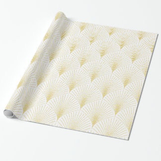 White & Gold Art-Deco Seamless Pattern Wrapping Paper