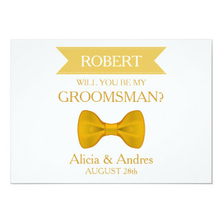 White & Gold Bow Will you be my Groomsman? 13 Cm X 18 Cm Invitation Card
