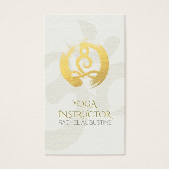White Gold Calligraphy Yoga Meditation ZEN Symbol Business Card