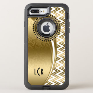 White & Gold Chevron & Geometric Modern Design OtterBox Defender iPhone 7 Plus Case