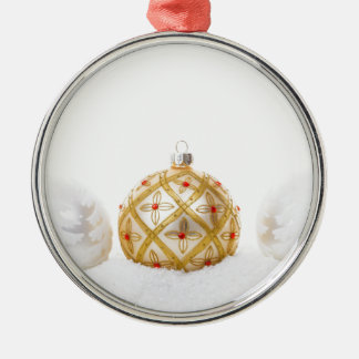 White Gold Christmas Bauble Red Flower in Snow Christmas Ornament