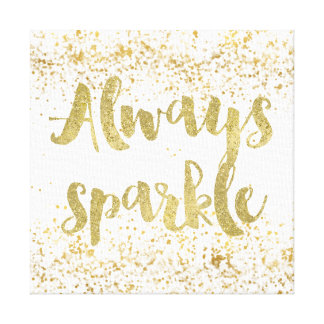 White Gold Confetti Sparkle Canvas Print