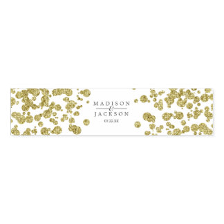 White & Gold Confetti Wedding Monogram Napkin Band