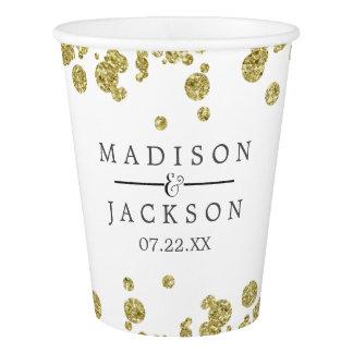 White & Gold Confetti Wedding Monogram Paper Cup