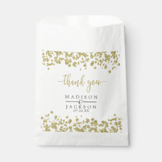 White & Gold Confetti Wedding Thank You Favour Bags