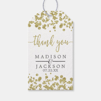 White & Gold Confetti Wedding Thank You Gift Tags