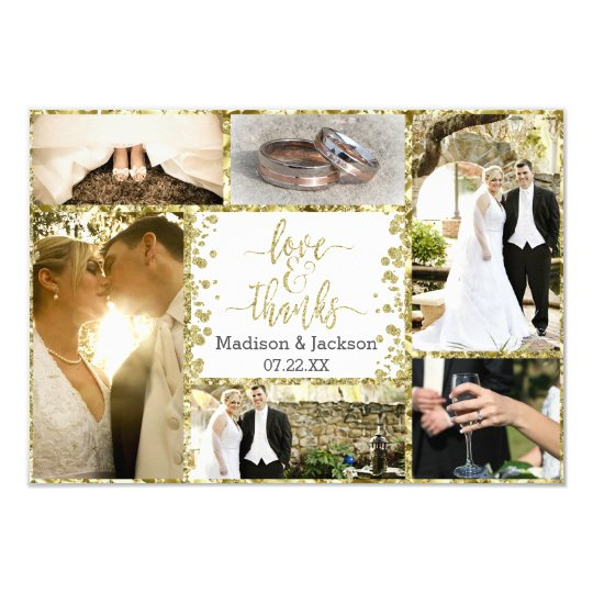 White & Gold Confetti Wedding Thank You Photo