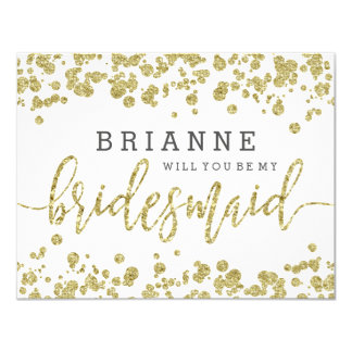 White & Gold Confetti Will You Be My Bridesmaid Card