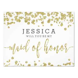 White & Gold Confetti Will You Be My Maid of Card