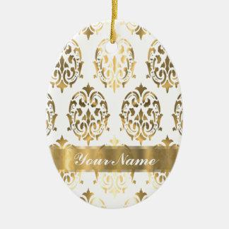 White & gold damask christmas ornament