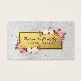 White Gold Damask Handmade Paper Wedding Planner