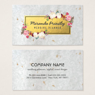 White Gold Damask Handmade Paper Wedding Planner Business Card