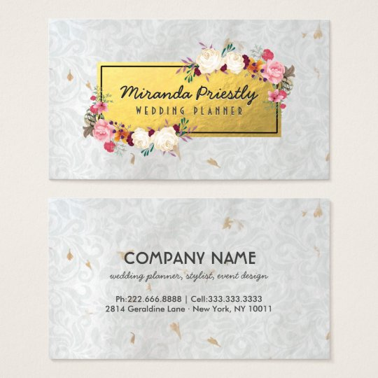 White Gold Damask Handmade Paper Wedding Planner Business