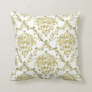 White Gold Damask Print Vintage Look Throw Pillow