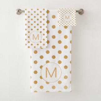White Gold Dot Monogram set, U can change color Bath Towel Set