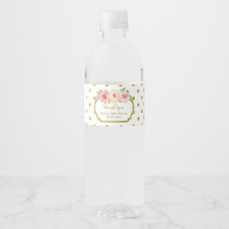 White Gold Dots Floral Water Bottle Label