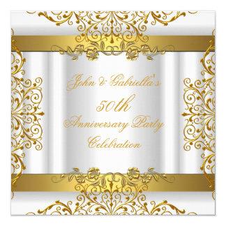 White Gold Elegant Gold 50th Wedding Anniversary Card