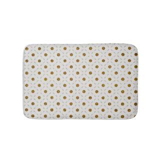 White gold faux glitter dots geometrical pattern bath mat