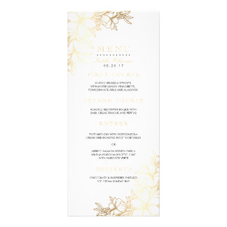 White & Gold Floral Engagement Party Menu