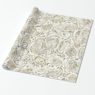 White & Gold Floral Paisley Wrapping Paper