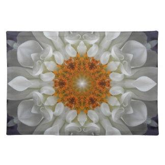 White Gold Flower Mandala Placemat
