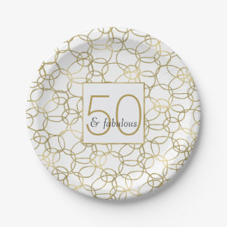 White Gold Glam Stylish Circles 50 and Fabulous Paper Plate