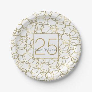 White Gold Glam Stylish Circles Anniversary 7 Inch Paper Plate