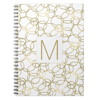 White Gold Glam Stylish Circles Monogram Notebooks