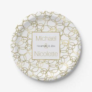 White Gold Glam Stylish Circles Wedding Paper Plate