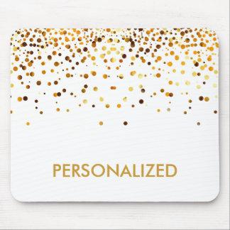 White Gold Glitter Confetti Faux Personalized Mouse Mat