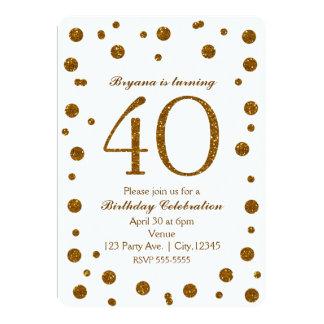 White & Gold Glitter Dots 40th 40 Birthday Party 13 Cm X 18 Cm Invitation Card