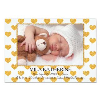 White Gold Glitter Hearts _ 3x5 Birth Announcement