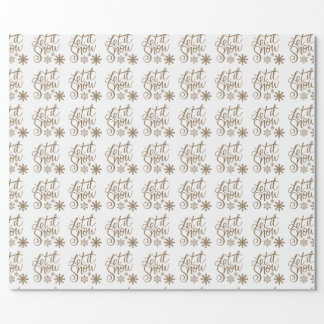 White gold glitter let it snow Christmas Wrapping Paper