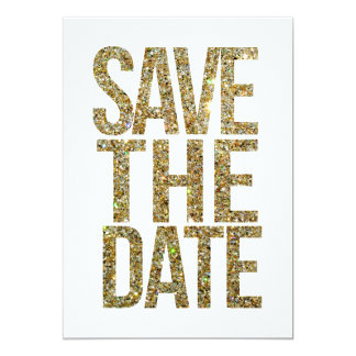 White & Gold Glitter Save the Date Typography Card