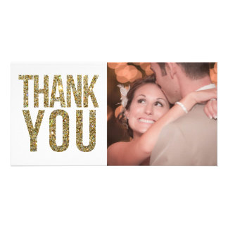 White & Gold Glitter Thank You Photo Cards Photo Card