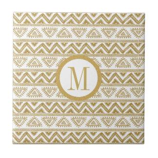 White & Gold Glitter Tribal Geometric Pattern Small Square Tile
