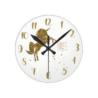 White & Gold Glitter Unicorn & Stars Personalized Round Clock