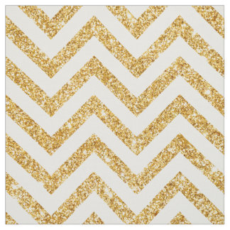 White Gold Glitter Zigzag Stripes Chevron Pattern Fabric