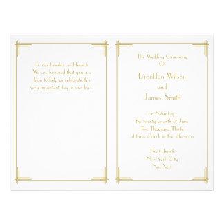 White Gold Great Gatsby Art Deco Wedding Programs 21.5 Cm X 28 Cm Flyer