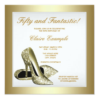 White Gold High Heels Womans 50th Birthday Card