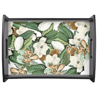 White Gold Magnolia Flowers Leaves Serving Tray