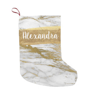 White & Gold Marble Glitter and Sparkle Monogram Small Christmas Stocking