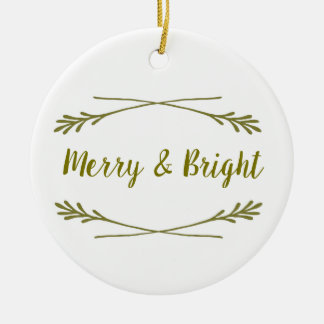 White & Gold Merry& Bright Christmas Ornament