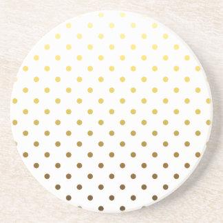 White Gold Polka Dot Drink Coaster