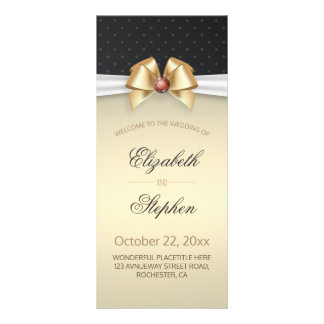 White & Gold Ribbon Red Diamond Wedding Program Full Colour Rack Card
