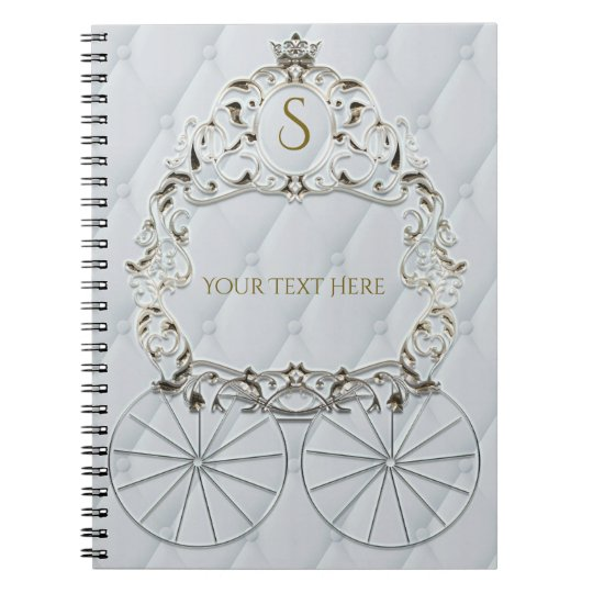 White & Gold Royal Crown Carriage Cinderella Notebook